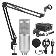 bm 800 Studio Microphone bm-800 Condenser Microphone Kits Bundle Karaoke Microphone Silver grey