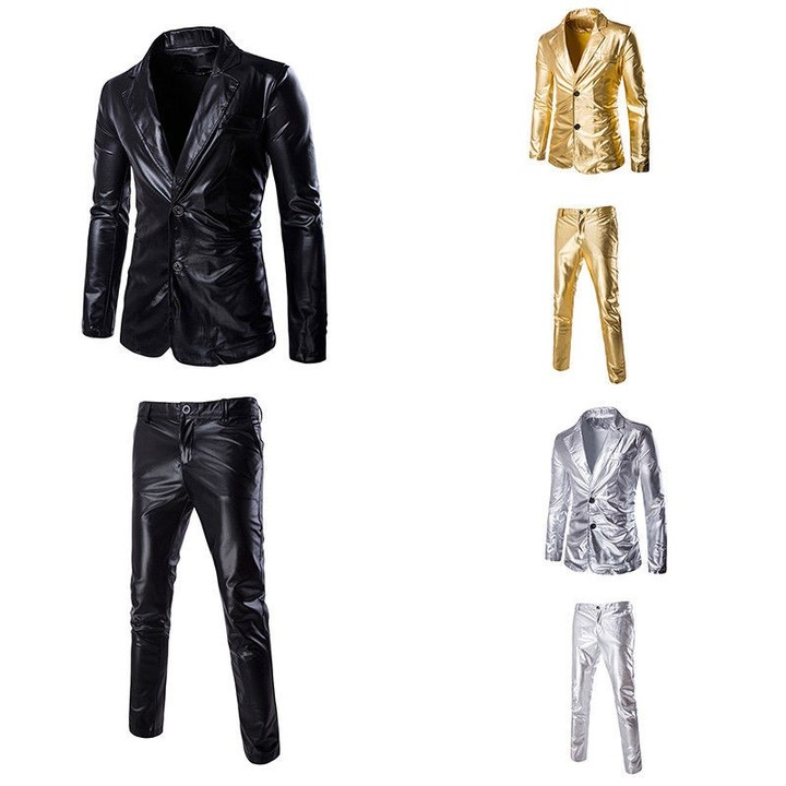 Pcs Mens Gold Bling Suit Blazer Bar Coat Jacket Tops Pants Dress Formal  Gold Sliver Black Chin 97d0df03a310