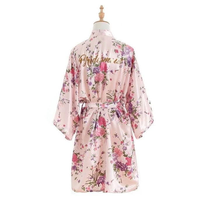 Bridesmaid Letter robe Sleepwear Wedding Bride Bridesmaid Robe Floral  Bathrobe Short Kimono Night c81463e28