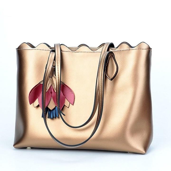 07130d8ce8fa SUNSHINE 2018 Soft Genuine Leather Women Handbags Female Big Shoulder Bags  Silver Flower Ladies H