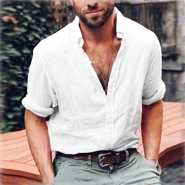 eb5e94a2df75 2018 Summer Mens Linen Shirt Men Long Sleeve Loose Smart Casual Basic  Shirts Tops Camisa Masculin