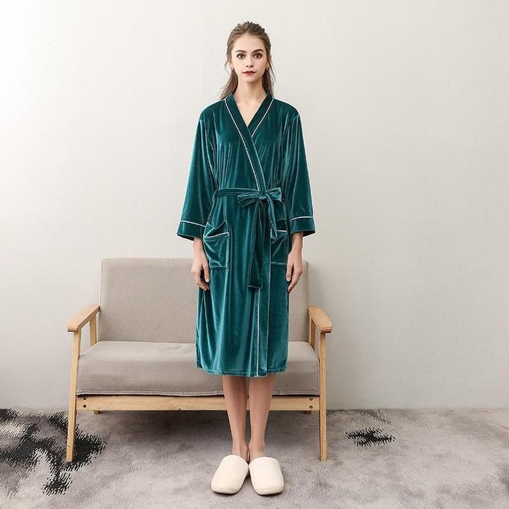 Lovers Robe Winter Warm Sleepwear Women Men Casual Kimono Bathrobe Long Dressing  Gown Nightgown L e400d3796