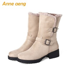 New Kid Suede Winter Women Ankle Boots 4.5CM Middle Square Heel Buckle Round Toe Classic Women Sh