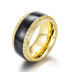 Stones Men Wedding Alliance Ring Black Gold Color Titanium Ring Vintage Punk Stainless Steel with