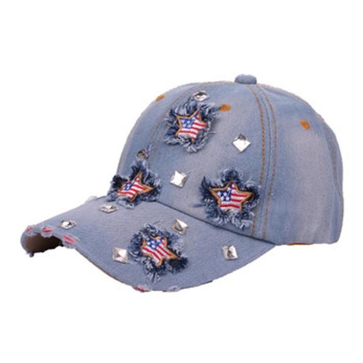 47122a85c0762 Rhinestone Leisure Hat women 2018 New Fashion Bling American Flag  Rhinestone Denim Baseball Cap