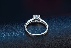 Fashion Jewelry Genuine Natural Solid 925 Silver Rings Inlay 1ct CZ Zircon Promise Band Wedding R 6 one size