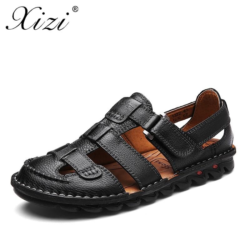 7a9fb323f 2018 New Arrivals Full Grain Leather Men Sandals Fashion slipper ...