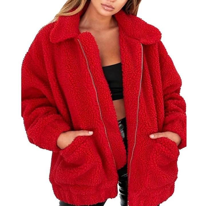 440623f4643 Plus Size Faux Fur Coat Woman Winter Thick Warm Teddy Bear Bomber Jacket Fur  Long Sleeve