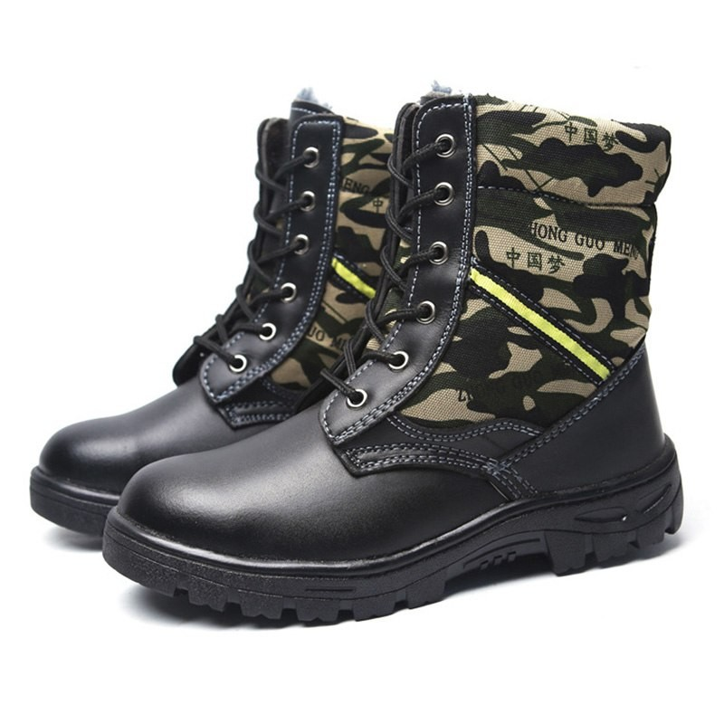 Safety Shoes Men Pu Leather Military Boots Men Camouflage Wear
