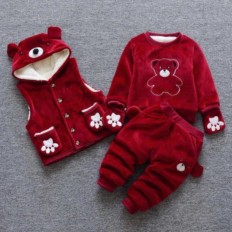 723ba87de baby girl winter clothing set 3pcs sport suit newborn girl warm ...