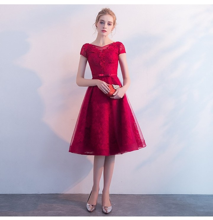 Yiiya Red Evening Dresses Short Sleeve Fashion Designer Embroidey Bow Lace  Up Quality Luxury Form 33a4b20d708e