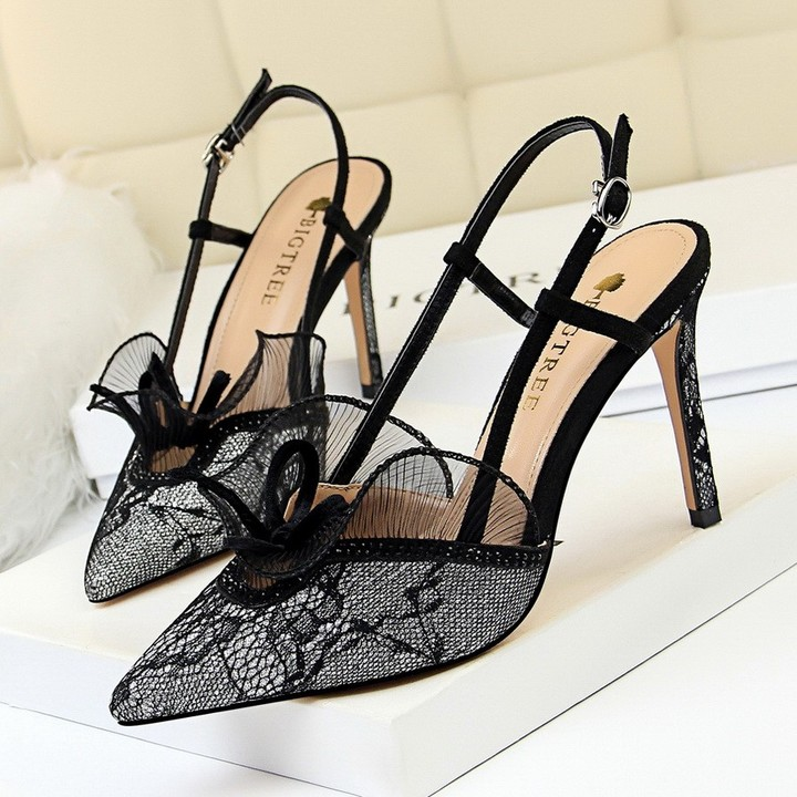 87f62fbd65fe High Heels Shoes Summer Women Sexy Lace Party Wedding Pumps woman pointed  toe Thin Heels Platform
