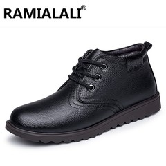 Winter Boots Mens Winter Shoes Genuine Leather Men Ankle Boots Warm Plush Mens Martin Boots High