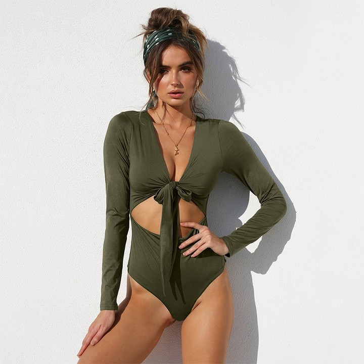a199aea0e44 Hollow Out Bodycon Bodysuits Feminino Mujer Sexy Rompers Long Sleeve V Neck  Women Body Winter Jum