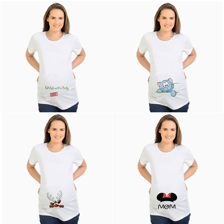 6a453bba52fdf Letter Pregnant Maternity T Shirts Shorts Casual Pregnancy Clothes Funny  For Pregnant Women Marte