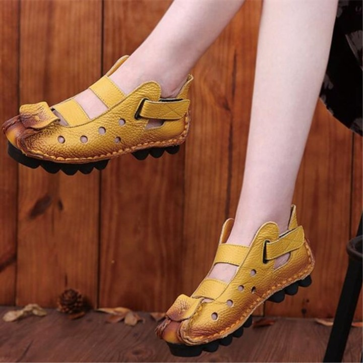 30fe7ac65014 summer new soft bottom flat leather womens shoes personality casual hole female  sandals retro han
