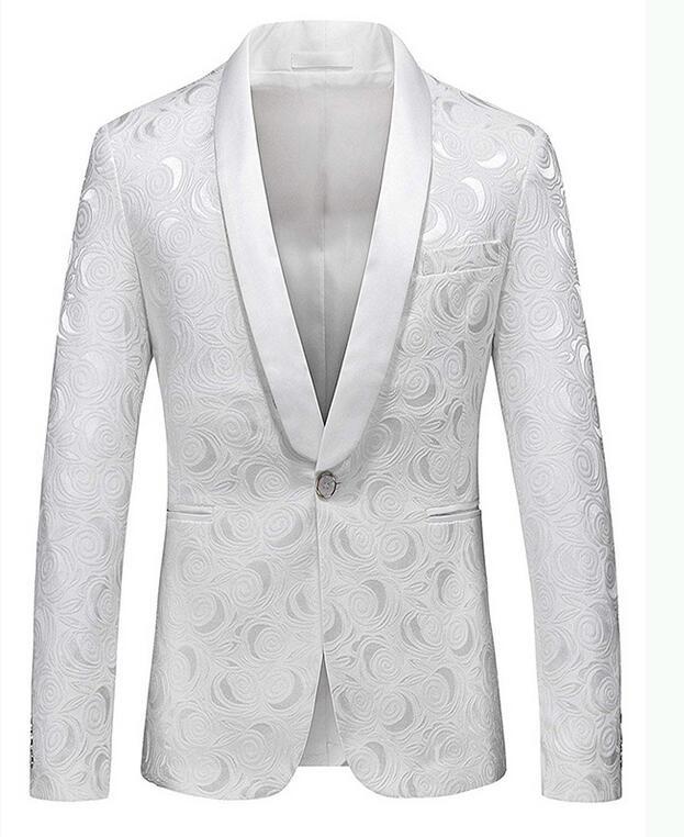 2de191393ae Made White Floral Mens Wedding Suits Shawl Lapel Slim Fit Groom Tuxedo  Handsome Pattern Men Blaze