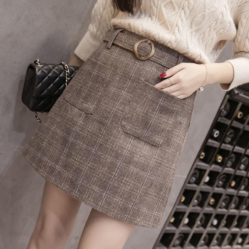 921d1fdf0ac86 Autumn Winter High Waist Elegant Woolen Skirt Fashion Women Mini Skirts  Casual Plus Size Warm Woo  Product No  5951313. Item specifics  Seller ...