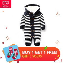 Newborn Autumn Baby Rompers Thickened Winter Striped Hooded Knitted Sweater Warm Overalls Fleece Navy Blue 3M