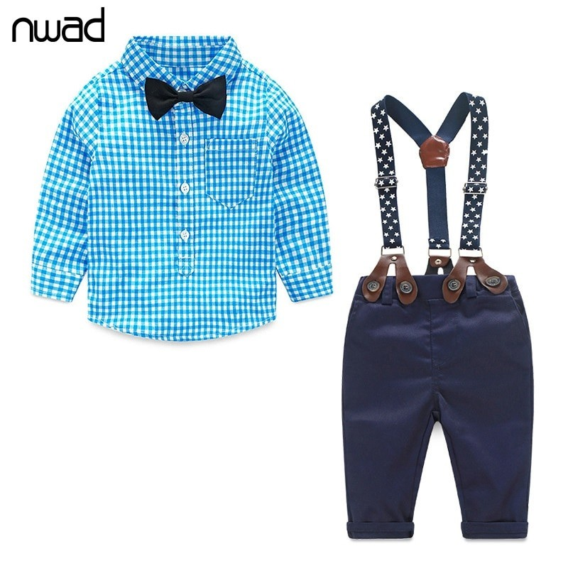 87ea99273 Baby Boy Clothes Long Sleeve Newborn Baby Sets Infant Clothing Gentleman  Suit Plaid Shirt+Bow Tie