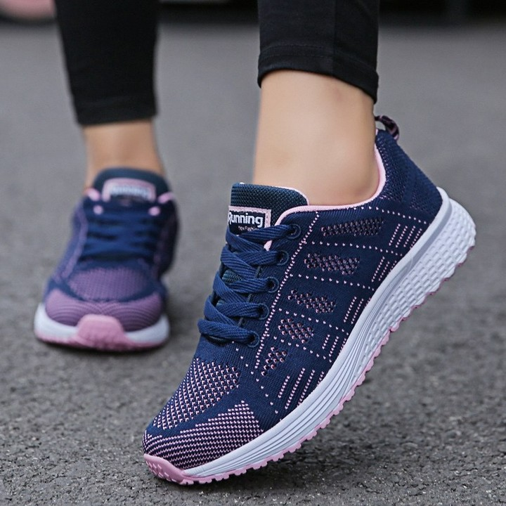 3bae5fc0b Delivery Women Casual Shoes Fashion Breathable Walking Mesh Lace Up Flat Shoes  Sneakers Women 201