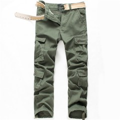 Men Cargo Pants Russia Spring Autumn casual loose Multi-pockets Zipper buttons army Green knit co