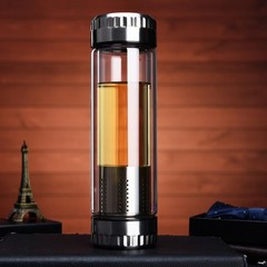 New design Double Wall Glass Water Bottle with infuser for Office and Travel