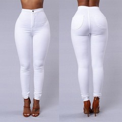 high waist tight jeans high elastic stitching pencil pants senior cotton ladies candy color jeans