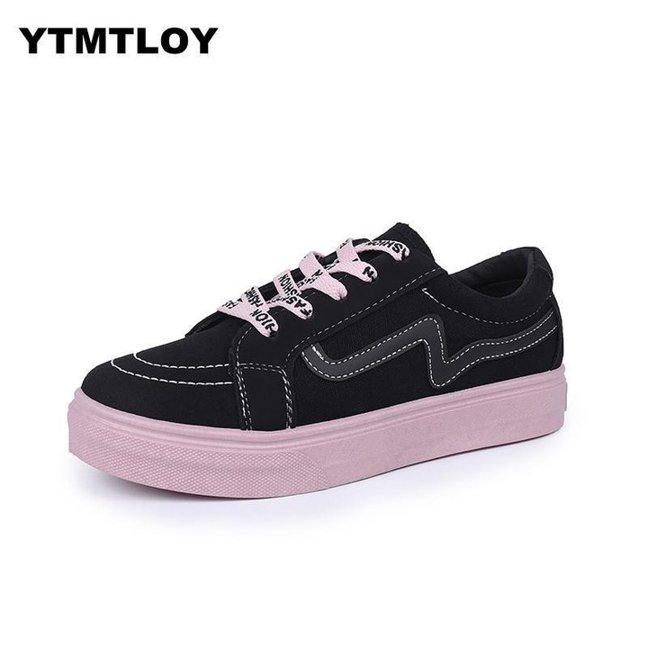 9b2a16a719b1c Brand Womens Canvas Flat Shoes 2018 Fashion Lace Up Women Sneaker Woman  Casual Comfortable Flats