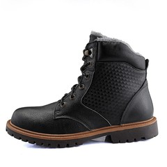 Size 37-48 High Quality Genuine Leather Winter Boots Lace Up Warm Plush Casual Men Boots Ankle Bo