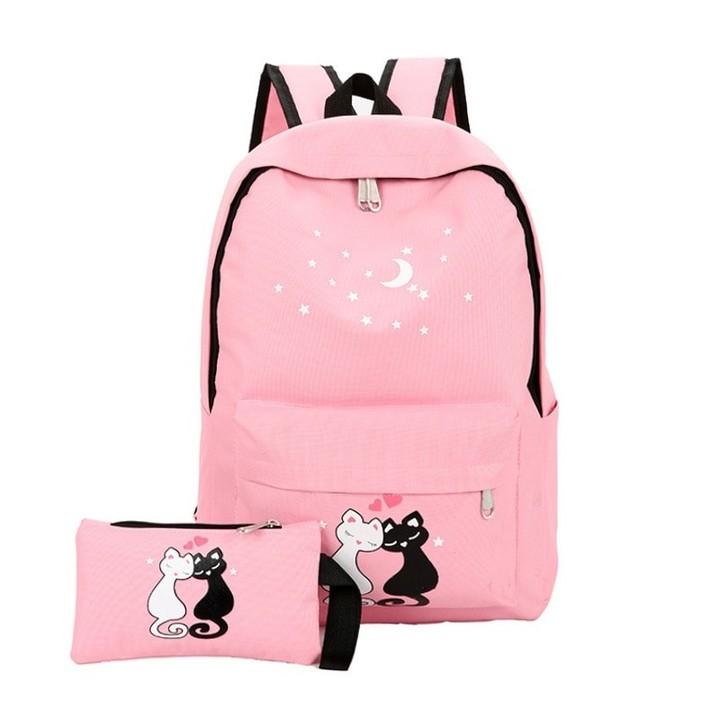 f4fa882bea04 Canvas Girls Backpack School Bags for Teenage Girls 2 Pcs/Set Cartoon Cat  Small Backpack Rucksack