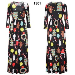 Christmas Long Dress Ladies Causal Santa Claus Print Long Sleeve Dress Vestidos Multicolor for Ev
