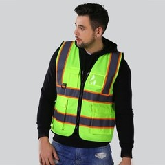 High visibility construction safety vests reflective with pockets work wear logo printing