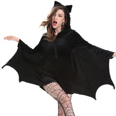 Autumn Classic Halloween Gothic Adult Bat Costumes Funny Hollow Zipper Girls Winter Party Cosplay