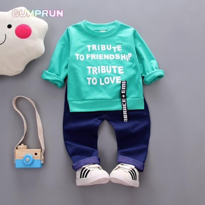d6fa24ce0 Autumn Clothes Fashion Letter Printed Girl T-shirt Set Casual ...
