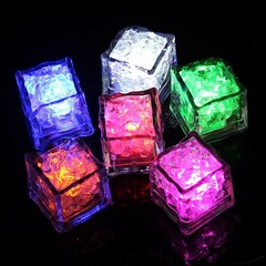 1pc DIY LED Flash Ice Cubes Drink Cup Sensor Colorful Glowing Square Light Bar Club Wedding Party