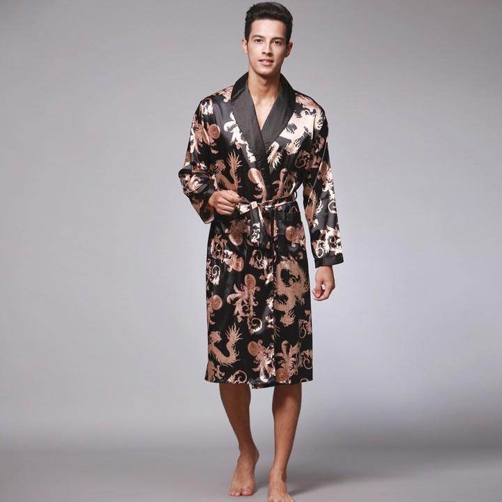 a47e4defe8 Arrival Navy Blue Chinese Mens Faux Silk Robe Novelty Kimono Yukata Gown  Summer Sleepwear Size L