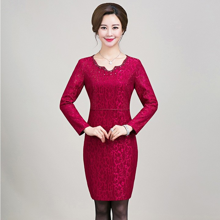 3ce8e871f7 Yiiya Mother of the Bride Dresses Long Sleeve Plus Size Pearls Fashion  Designer Office Lady Lace