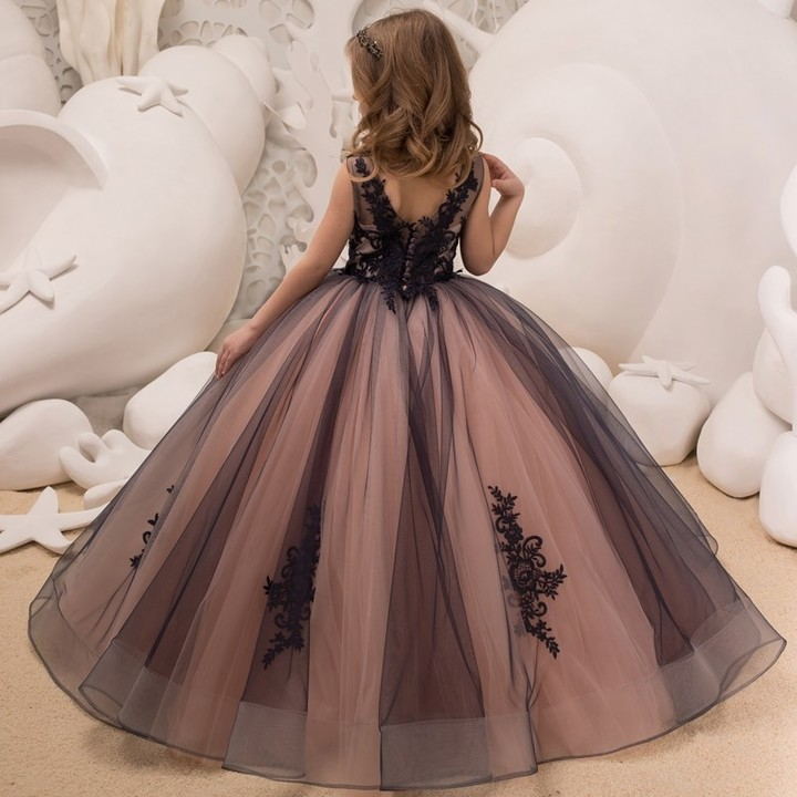 Hot Girls Tulle Sleeveless Double V-neck Lace Appliques Ball Gowns Flower  Girl Dresses Princess 6dec34f83521