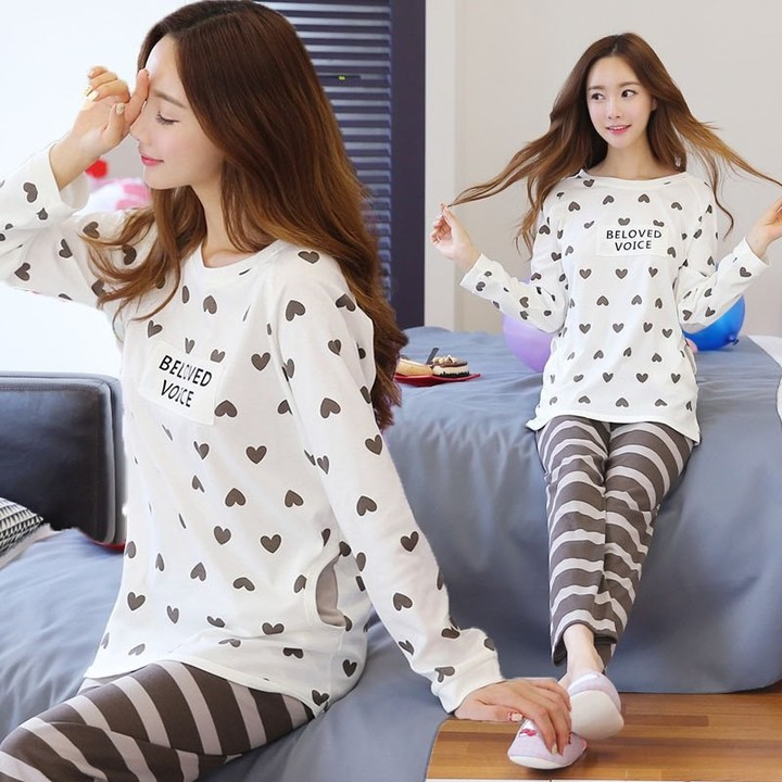 cfaa5c1fd7386 size autumn winter womens home service post natal breast feeding pajamas  Maternity Nursing Pajama