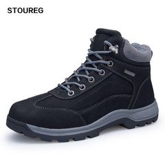 Leather Hiking Shoes Warm Hunting Boots Waterproof High Mountaineering Trekking Shoes 40-46