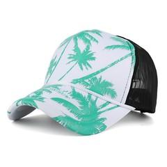 Hot Sports Baseball Tennis Caps Women Men Coconut Tree Printing Adjustable Breathable Mesh Hats D