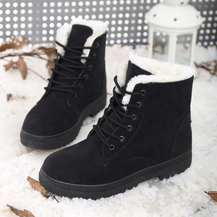 ef786d002216a2 ship Snow boots classic heels suede women winter boots warm fur plush  Insole ankle boots women