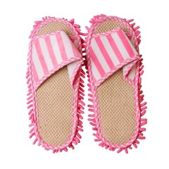 Fleece Striped Chenille Linen Mop Slippers Floor Polishing Dusting Cleaning Foot Shoes Mop Slippe