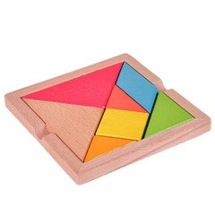 Wholesale  15*15CM Thickened Wooden Tangram Educational Toy Seven-piece Wooden Puzzles for Kids C