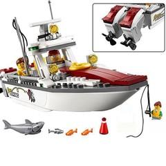 159pcs Legoings Technic Series The boat Fishing Toy Boat Shark City 60147 Legoings Figures Buildi