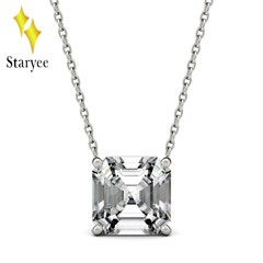 Positive Charles & Colvard 8mm Asscher Moissanite 18k Gold Solitaire Pendant With 18K Yellow G