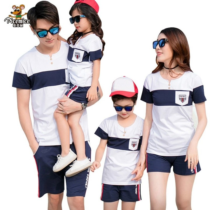 82c921ebb203 Look 2018 Summer Style Fashion Cotton T shirt Shorts Family Matching  Outfits Father Son Mother Da