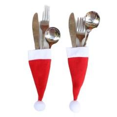 Decorative christmas cap tableware Knife Fork Set  Christmas Hat Storage Tool christmas decoratio
