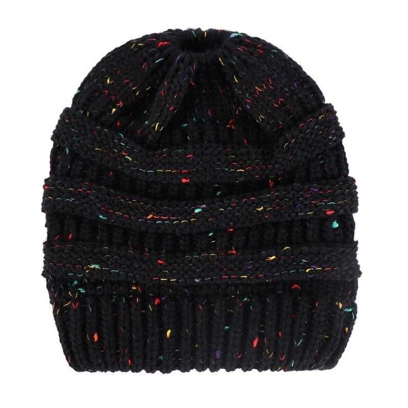 and winter little y yarn knitting ponytail running cap outdoor ... d84d47df398